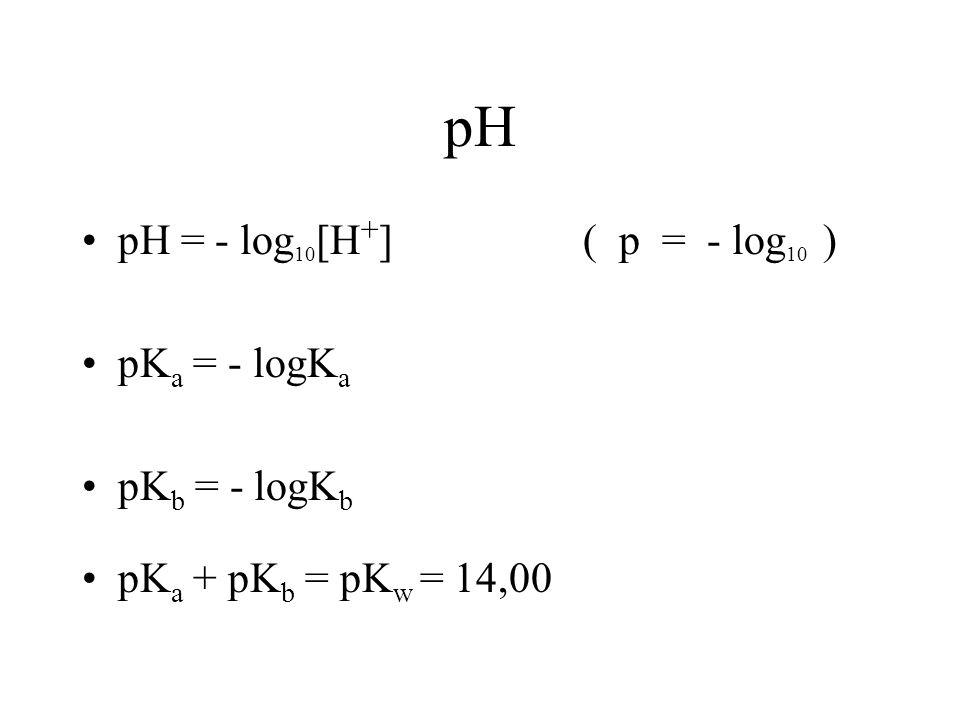 pH pH = - log10[H+] ( p = - log10 ) pKa = - logKa pKb = - logKb